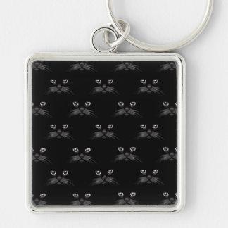 Regalo hermoso del personalizado del gato negro llavero cuadrado plateado