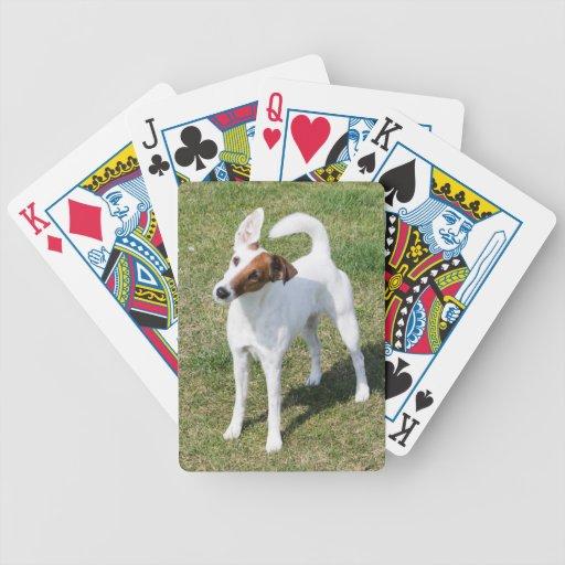 Regalo hermoso lindo de la foto del perro liso del barajas de cartas