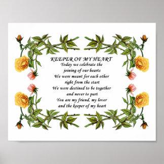 Regalo KMH del poema del amor del aniversario de H Poster