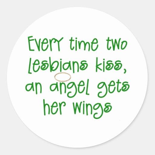 Regalo lesbiano divertido del navidad etiqueta redonda