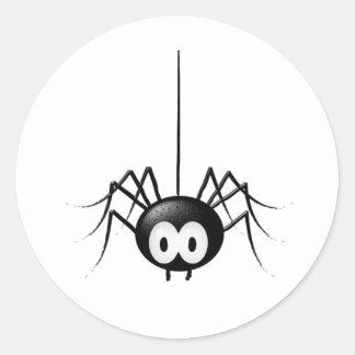 Regalo lindo de Halloween de la araña negra Pegatina Redonda
