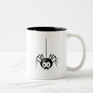 Regalo lindo de Halloween de la araña negra Taza De Dos Tonos