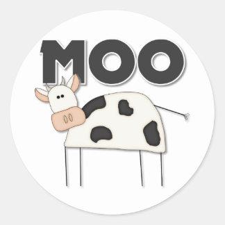 Regalo lindo de la vaca pegatina redonda