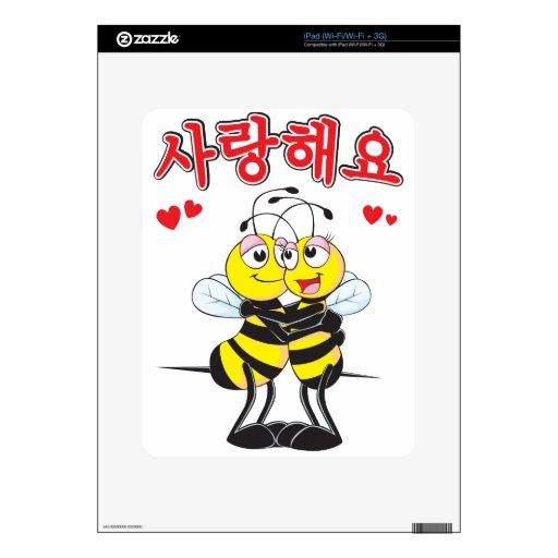 regalo lindo de los amantes de la abeja del 사랑합니다  calcomanías para el iPad