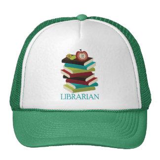 Regalo lindo del bibliotecario de la pila de libro gorra
