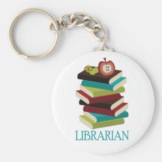 Regalo lindo del bibliotecario de la pila de libro llavero redondo tipo pin