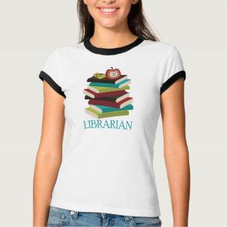 Regalo lindo del bibliotecario de la pila de libro playera