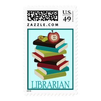 Regalo lindo del bibliotecario de la pila de libro sello