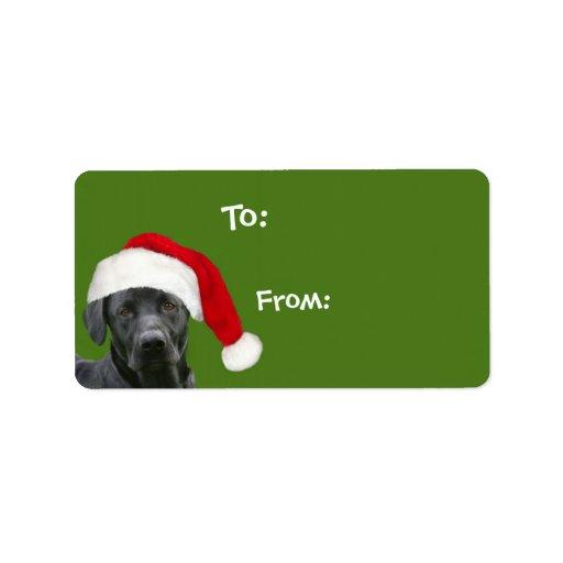 Regalo negro del navidad del laboratorio etiqueta de dirección