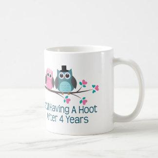 Regalo para el 4to pitido del aniversario de boda taza