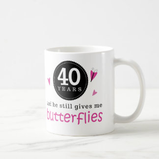 Regalo para la 40 a mariposa del aniversario de bo taza