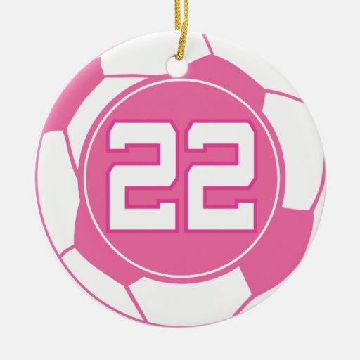 Regalo para mujer del número 22 del jugador de fút ornaments para arbol de navidad