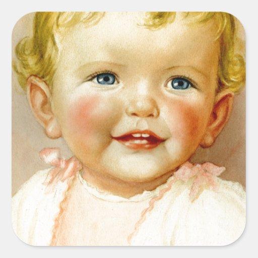 ¡regalo perfecto para un nacimiento de la niña! calcomanía cuadradase