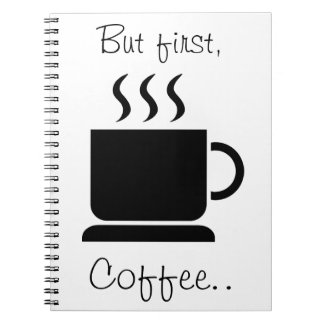 Regalo personalizado amante negro del café con lec libro de apuntes con espiral