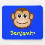 Regalo personalizado cara feliz linda del mono del alfombrillas de ratones