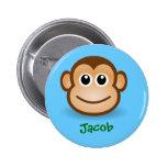 Regalo personalizado cara feliz linda del mono del pins