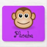 Regalo personalizado cara feliz linda del mono del tapete de ratón