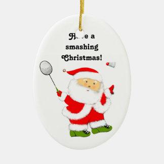 regalo personalizado del bádminton adorno navideño ovalado de cerámica