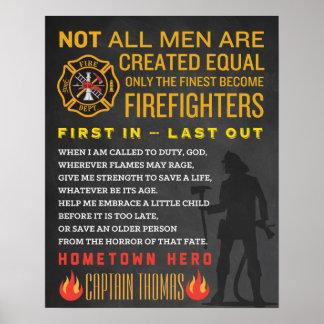Regalo personalizado del bombero. Muestra del Póster