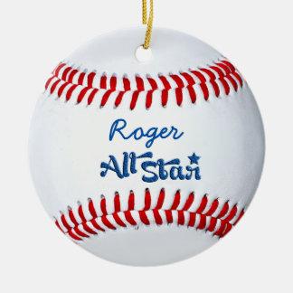 Regalo personalizado del jugador de béisbol adornos