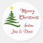 Regalo personalizado del paquete del navidad etiqueta redonda