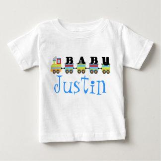 Regalo personalizado del tren de Justin del bebé Polera