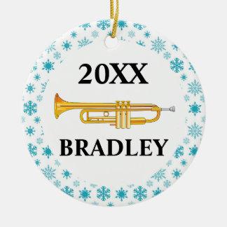 Regalo personalizado trompeta del navidad de la adorno navideño redondo de cerámica