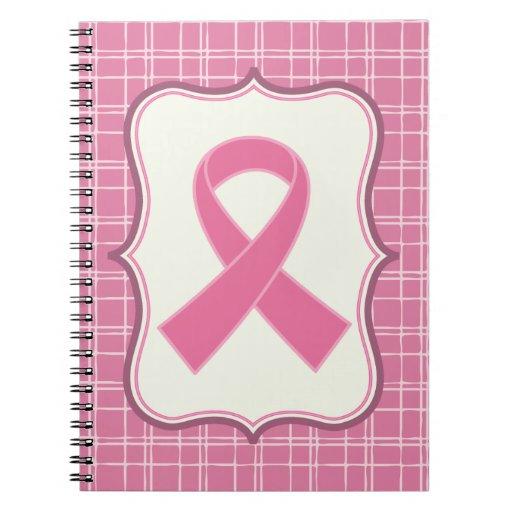 Regalo precioso de la cinta del rosa del cáncer de libros de apuntes con espiral