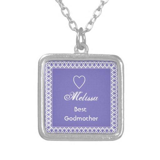 Regalo púrpura y blanco de la mejor madrina del co joyerías
