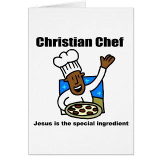 Regalo religioso del cocinero cristiano tarjeta de felicitación