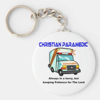 Regalo religioso del paramédico cristiano llavero redondo tipo pin