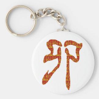 REGALO rojo de oro del carácter chino del Llavero Redondo Tipo Pin
