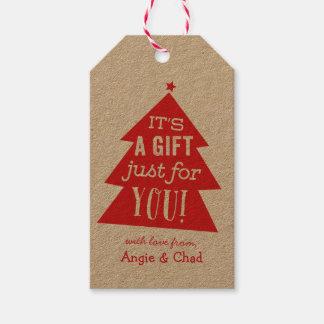 Regalo rojo del árbol de navidad etiquetas para regalos