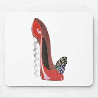 Regalo rojo del arte del zapato y de la mariposa d alfombrilla de ratones