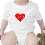 Regalo rojo del día de padre del corazón trajes de bebé