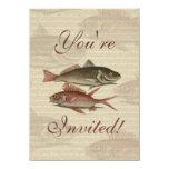 regalo rojo del pescador del vintage de la perca invitaciones personalizada