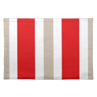 Regalo rojo y blanco beige de Placemat de la raya Mantel