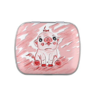 Regalo rosado de la lata del vientre de la jalea d frascos de dulces