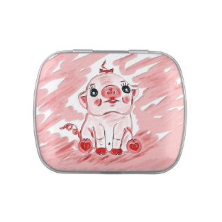 Regalo rosado de la lata del vientre de la jalea d latas de caramelos