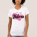 Regalo rosado de la mariposa de la enfermera camisetas