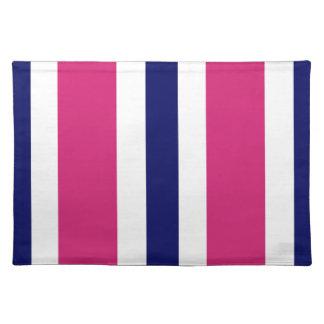 Regalo rosado de Placemat de la raya de los azules Manteles Individuales