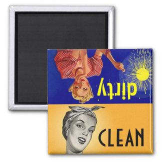 Regalo sucio limpio del lavaplatos del ayudante de imán cuadrado