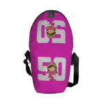 Regalo uniforme del número 50 del softball (chicas bolsa messenger