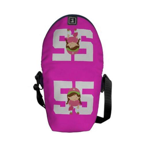 Regalo uniforme del número 55 del softball (chicas bolsa de mensajeria