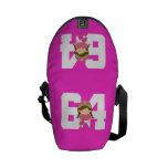 Regalo uniforme del número 64 del softball (chicas bolsa de mensajeria