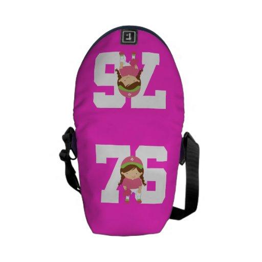 Regalo uniforme del número 76 del softball (chicas bolsa de mensajeria