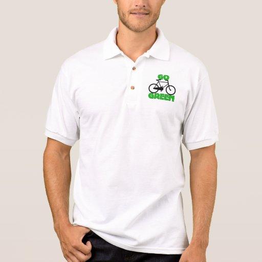 Regalo verde de la bicicleta camiseta polo