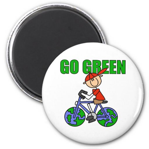 Regalo verde de la bicicleta imán de nevera