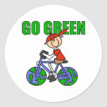 Regalo verde de la bicicleta pegatinas redondas