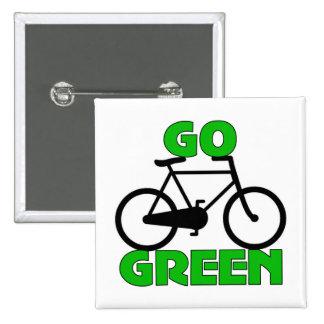 Regalo verde de la bicicleta pin cuadrado
